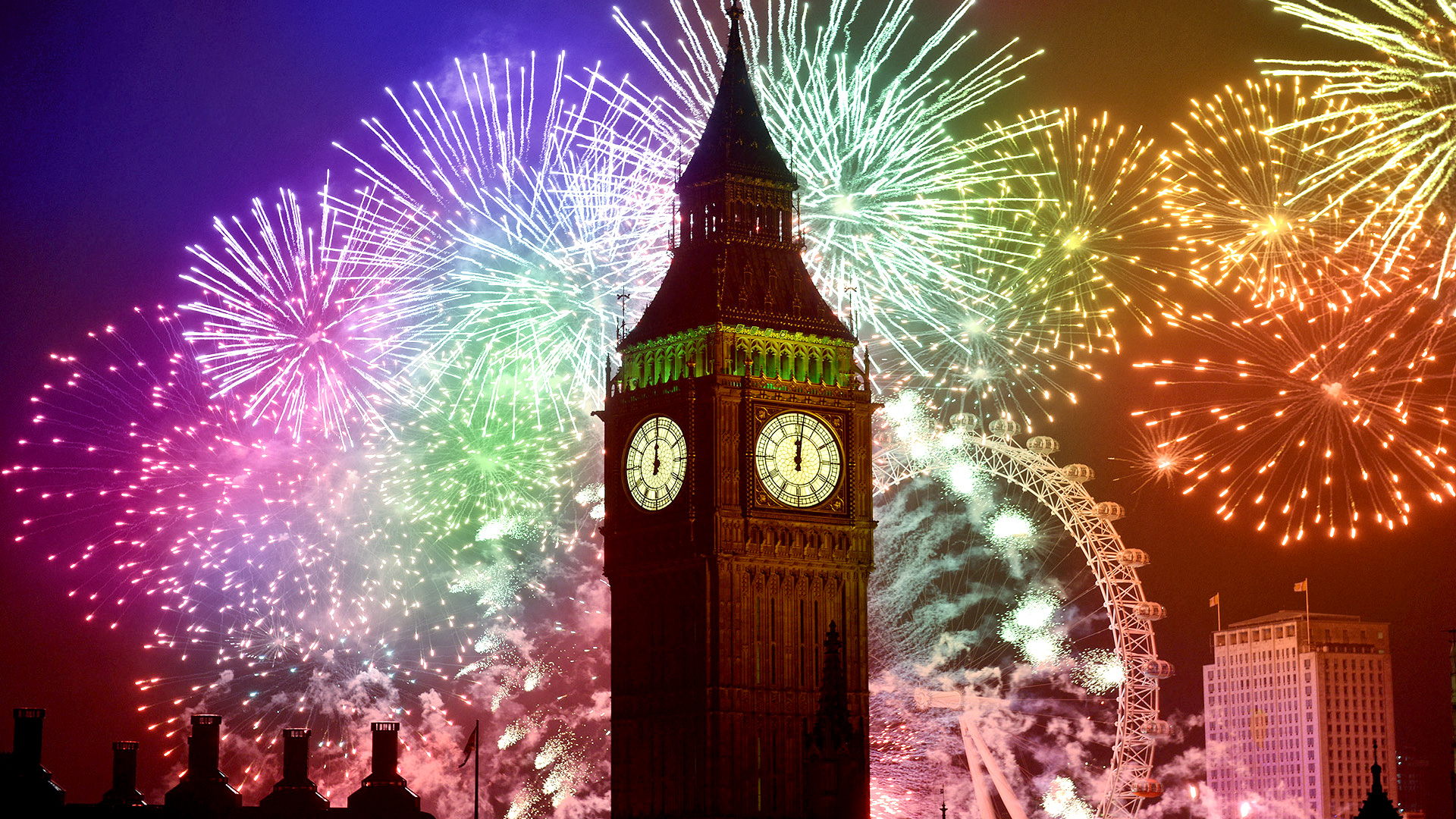 Big ben with colorful fireworks in London