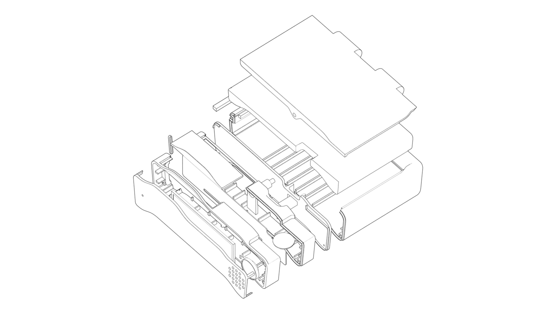 Phone Cell base CAD exploded view